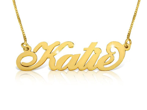 Katie Style Upgraded Quality 18k Gold Plated Nameplate Necklace - My Boho Jewelry