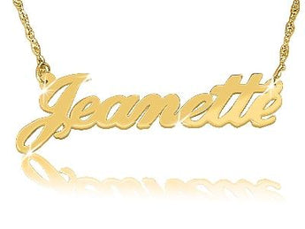 Jeanette Style Solid Gold Name Necklace - My Boho Jewelry