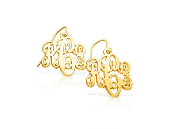 14k Solid Gold Monogram Earrings - My Boho Jewelry