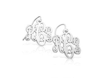 Sterling Silver Monogram Earrings - My Boho Jewelry