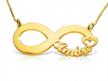 Infinity Symbol With Heart Necklace Gold Plated - My Boho Jewelry
