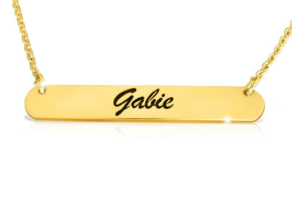 14k Gold Bar Necklace With Name - My Boho Jewelry