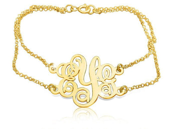 18k Gold Plated Monogram Bracelet - My Boho Jewelry