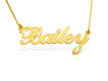 Tiny Solid 14k Gold Nameplate Necklace Child