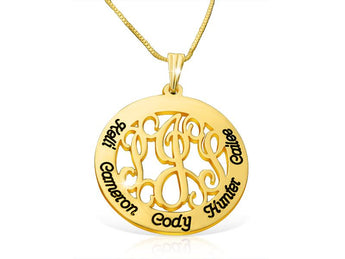 Family Monogram Necklace in 18k Gold Plated - My Boho Jewelry