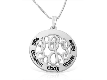 Family Monogram Necklace in Sterling Silver - My Boho Jewelry
