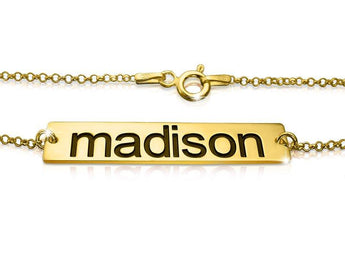 14k Solid Gold Bar Name Bracelet - My Boho Jewelry
