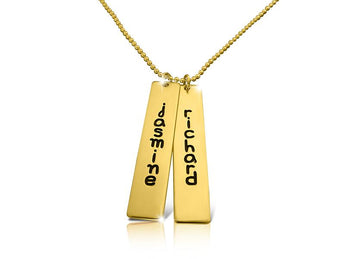 Engraved Double Bar Name Necklace 18k Gold Plated - My Boho Jewelry