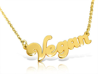 Vegan Friendly solid 14k Gold Name Necklace - My Boho Jewelry