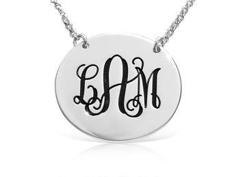 Engraved English Monogram Necklace in Sterling Silver - My Boho Jewelry