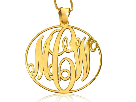 18k Gold Plated Classic Circle Monogram - My Boho Jewelry
