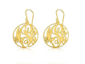 18k Gold Plated Circle Frame Monogram Earrings - My Boho Jewelry