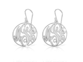 Sterling Silver Monogram Frame Earrings - My Boho Jewelry