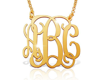 Large 18k Gold Plated Vine Monogram Necklace - My Boho Jewelry