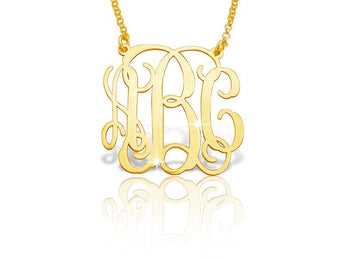 18k Gold Plated Classic Vine Monogram Necklace - My Boho Jewelry