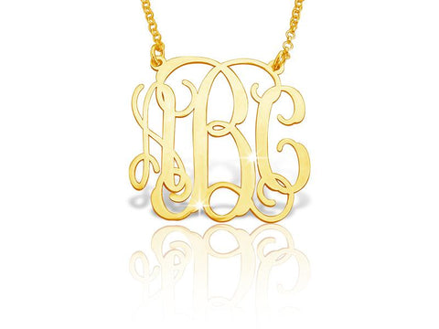 14k Gold Classic Vine Monogram Necklace - My Boho Jewelry