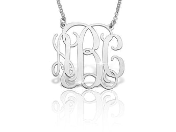 Classic Vine Monogram Necklace in Sterling Silver-open - My Boho Jewelry