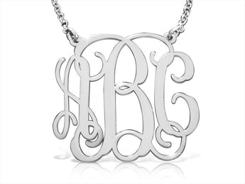 Large Size Sterling Silver Vine Monogram Necklace - My Boho Jewelry