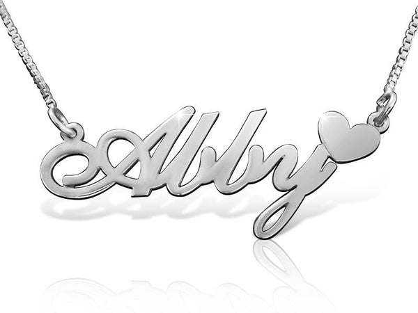 Sterling Silver Abby Heart Name Necklace - My Boho Jewelry