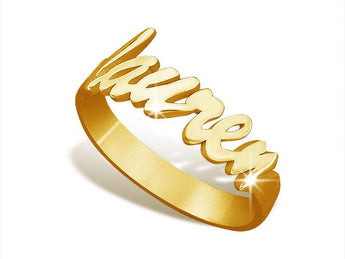 Soho Script Name Ring in 18k Gold Plating - My Boho Jewelry