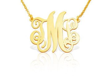 Classic Open Monogram Necklace in 14k Solid Gold - My Boho Jewelry