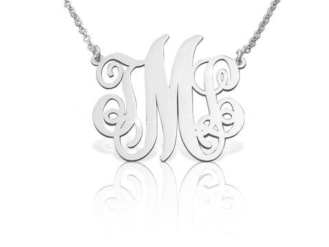 Classic Open Monogrammed Necklace in Sterling Silver - My Boho Jewelry