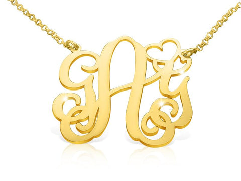 18k Gold Plated Vine Heart Monogram Necklace - My Boho Jewelry