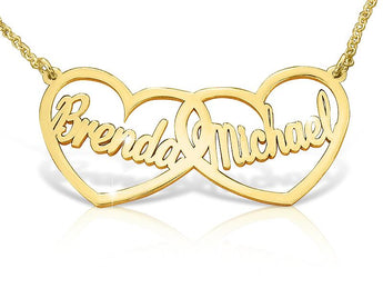 Solid Gold Double Heart Style Name Necklace - My Boho Jewelry