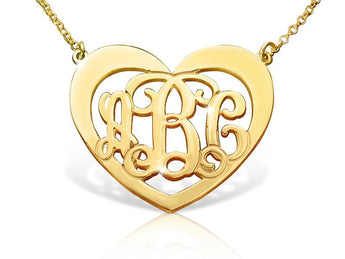 14k Gold Heart Monogram Necklace - My Boho Jewelry