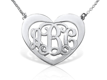 Silver Heart Shaped Monogram Necklace - My Boho Jewelry