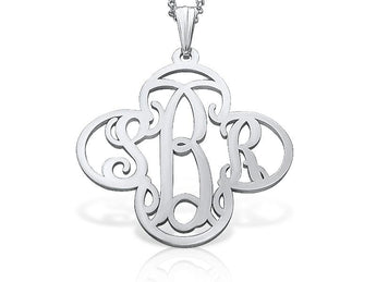 Silver Cross Monogram Necklace - My Boho Jewelry