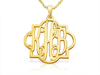 Tile Monogram Necklace 18k Gold Plated - My Boho Jewelry