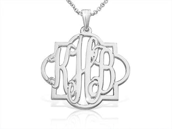 Tile Monogram Name Necklace in Sterling Silver - My Boho Jewelry