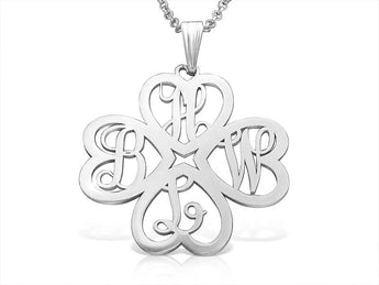 Sterling Silver Clover Monogram - My Boho Jewelry