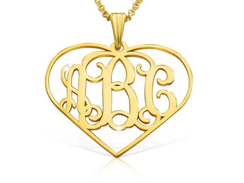 Heart Monogram Necklace in 18k Gold Plated - My Boho Jewelry
