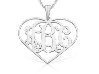 Heart Shaped Monagram Necklace Sterling Silver - My Boho Jewelry