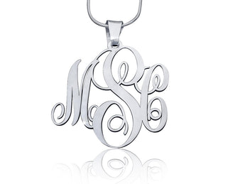 Sterling Silver Small Monogram Necklace - My Boho Jewelry
