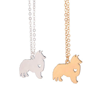 Gold & silver Sheltie Necklace Choose Any Dog Breed Pet Necklace Gold Fill Charm  Dogs Name Pet Lover Gift for lovers - My Boho Jewelry