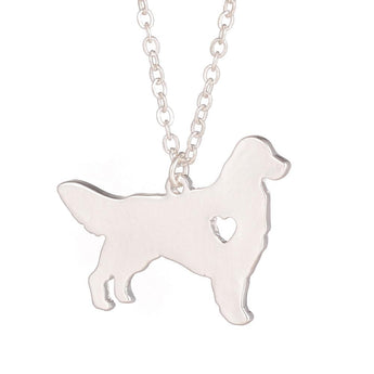 Golden Retriever Necklace Dog Pendant Dog Breed Silver Jewelry Charm Pets New Puppy Adopt Dog Lovers Gift - My Boho Jewelry