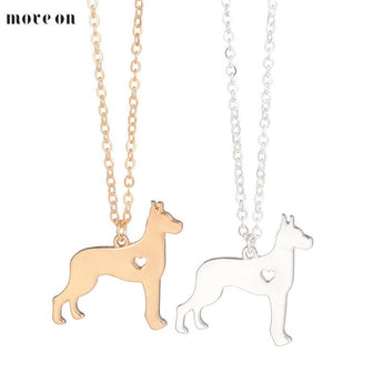 Gold Silver  Great Dane Necklace Large Dog Pendant Jewelry Breed Pet  Dog Christmas Gifts Memorial Gift Family Pet For Lovers - My Boho Jewelry