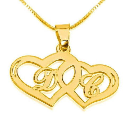 24k Gold Plated Initials Necklace with Two Hearts - My Boho Jewelry