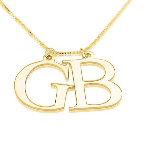 24K Gold Plated Two Initial Necklace - My Boho Jewelry
