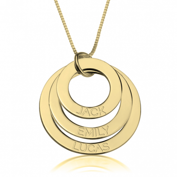 24K Gold Plated Engraved Rings Mother Necklace - My Boho Jewelry