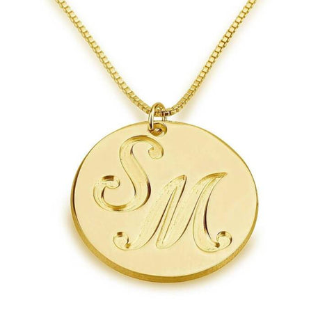24k Gold Plated Medallion Initials Necklace - My Boho Jewelry