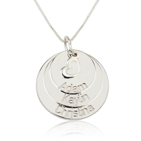 Sterling Silver Engraved Mother Disc Necklace with Heart - My Boho Jewelry