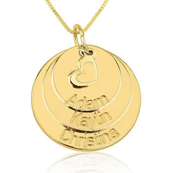 24k Gold Plated Engraved Mother Disc Necklace with Heart - My Boho Jewelry