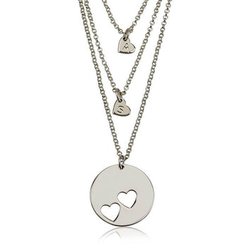 Sterling Silver Engraved Mother Daughter Heart Necklace Set - My Boho Jewelry