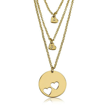 24k Gold Plated Engraved Mother Daughter Heart Necklace Set - My Boho Jewelry