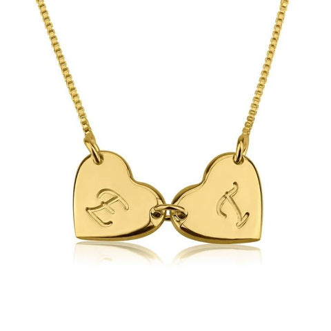 24k Gold Plated Linked Hearts Initial Love Necklace - My Boho Jewelry
