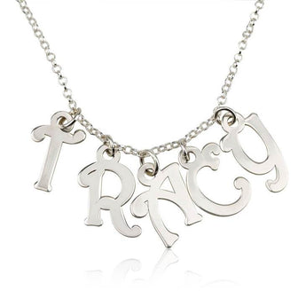 Sterling Silver Charm Name Necklace - My Boho Jewelry